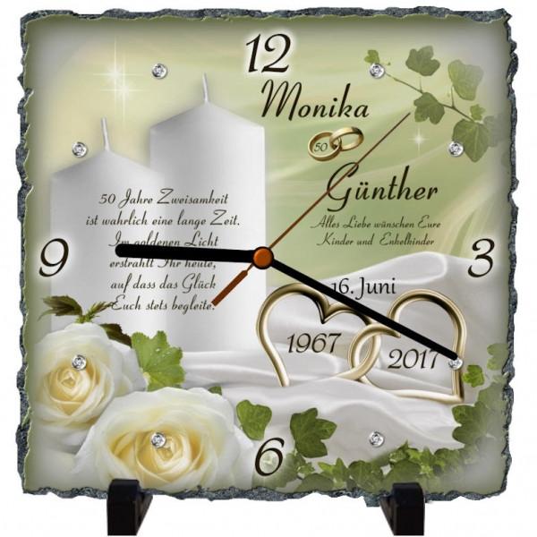 Geschenk Zur Goldenen Hochzeit  Geschenk zur Goldenen Hochzeit Schieferplattenuhr Motiv
