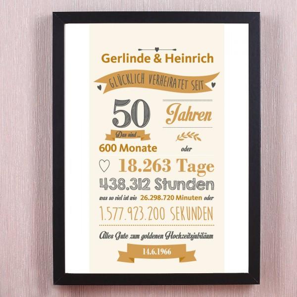 Geschenk Zur Goldenen Hochzeit  persönliches Wandbild goldene Hochzeit verheiratet seit