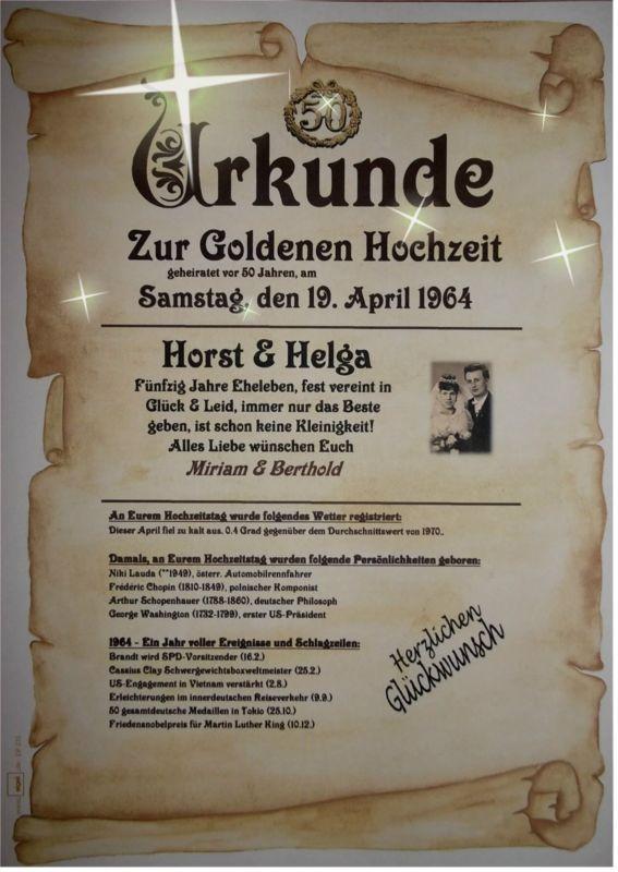 Geschenk Zur Goldenen Hochzeit  ★WOW★ GOLDENE HOCHZEIT Geschenk Urkunde zum 50