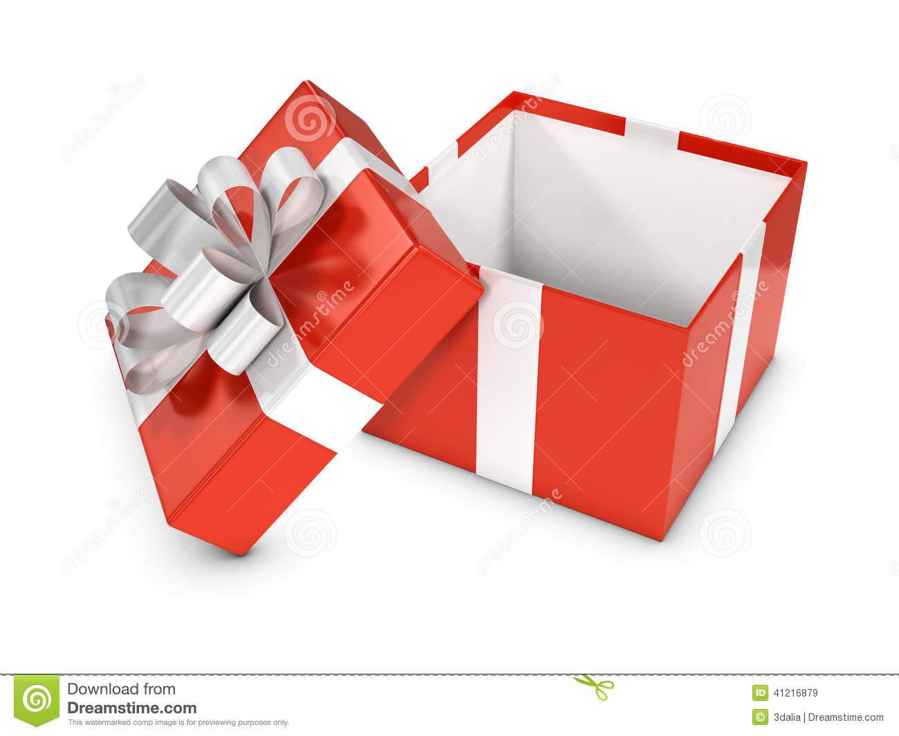 Geschenke Box  Rote Geschenkbox 3d offen stock abbildung Illustration