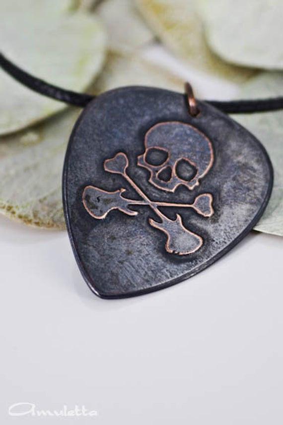 Geschenke Für Musikliebhaber  Skull Custom Plektrum Halskette groß Classy
