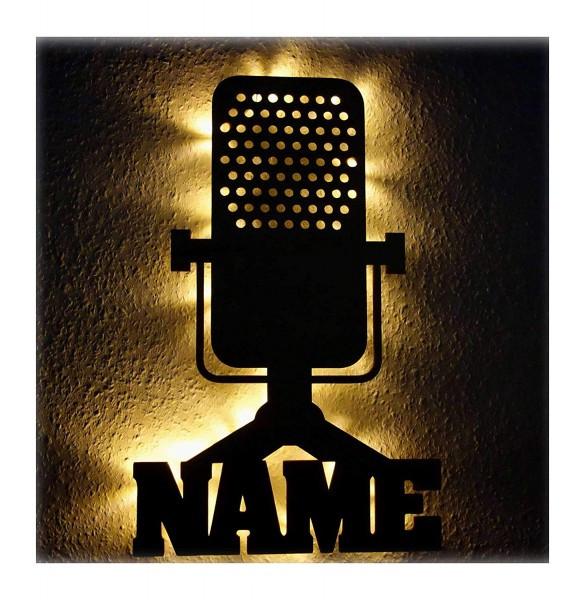 Geschenke Für Musikliebhaber  LED Mikrofon Nachtlicht Lampe mit Namen für Musiker Männer