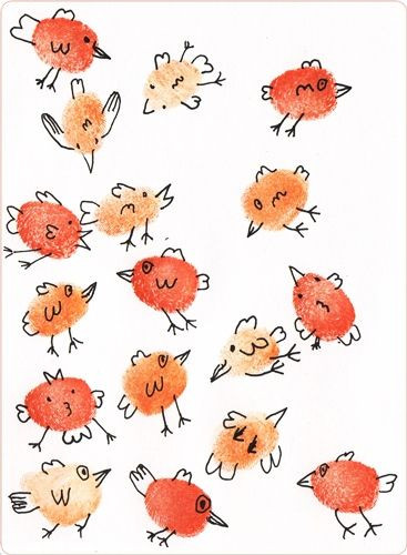 "Geschenke Malen  Fingerprint ""Birds"" Malen mit Fingerabdrücken"