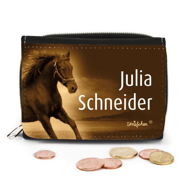 Geschenke-Online  Geldbörse mit Pferdemotiv und Name