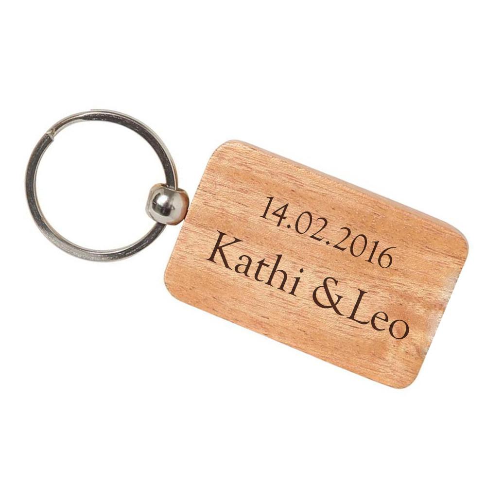 Geschenke-Online  Holz Schlüsselanhänger mit Gravur Individuelle Geschenke