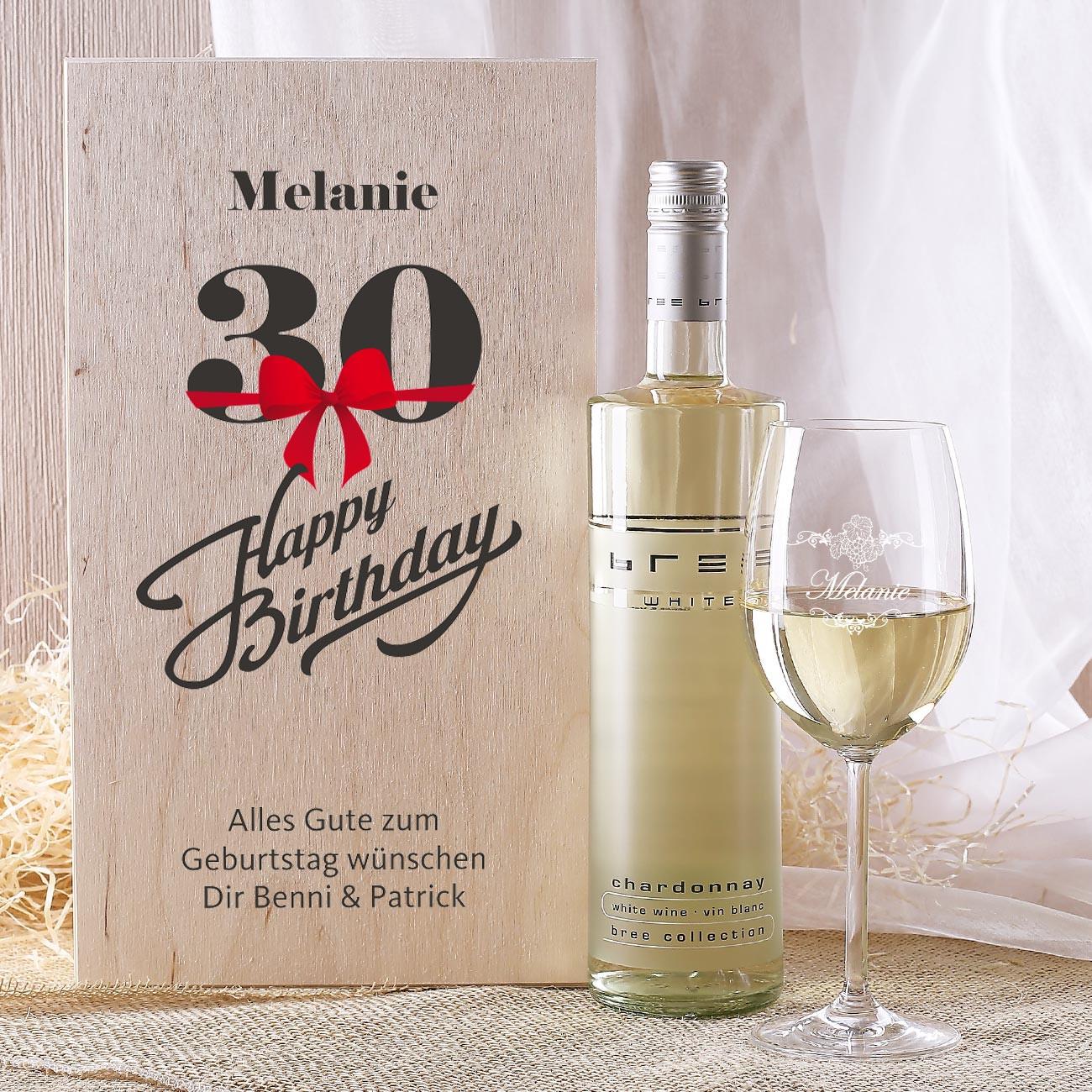 Geschenke-Online  graviertes Weinglas und Flasche in bedruckter Geschenkbox