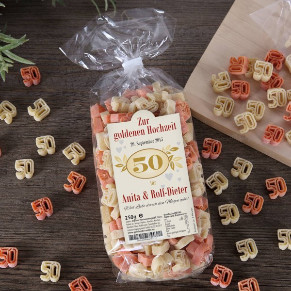 Geschenke Zum 20 Hochzeitstag  Zahlen Nudeln mit Namen und Datum zum 50 Hochzeitstag