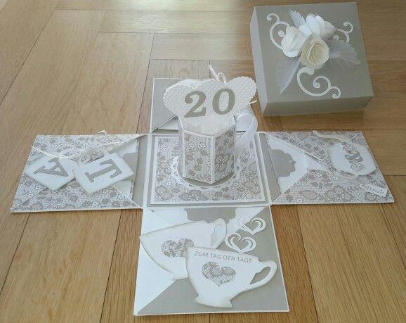 Geschenke Zum 20 Hochzeitstag  Explosionsbox zum 20 Hochzeitstag Porzellanhochzeit