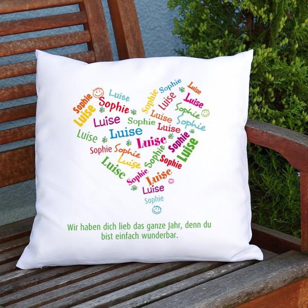 Geschenke Zum 80. Geburtstag Opa  MuttertagsKissen mit den Namen der Kinder in Herzform