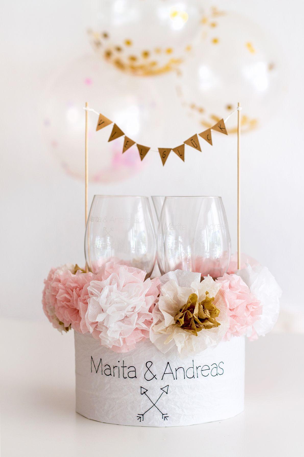 Geschenkideen Hochzeit  Gravurgeschenke mit DIY Verpackung für Hochzeit