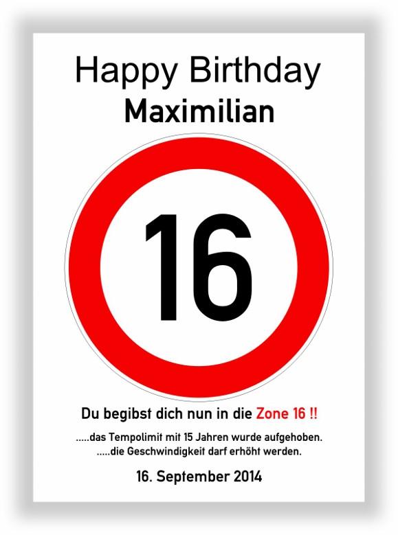 Geschenkideen Zum 16 Geburtstag  Verkehrszeichen Bild 16 Geburtstag Deko Geschenk