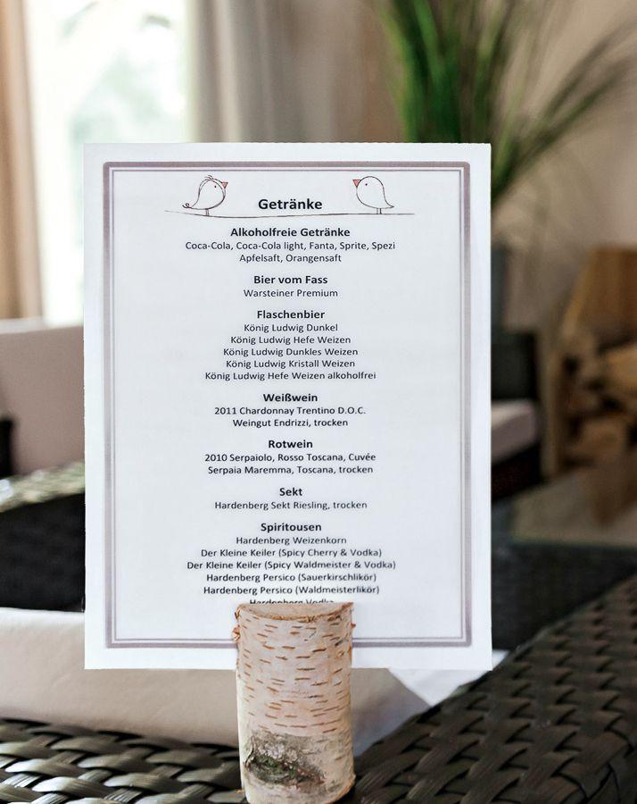 Getränkekarte Hochzeit Selber Machen  Hochzeitsreportagen Stampin Up Ideen