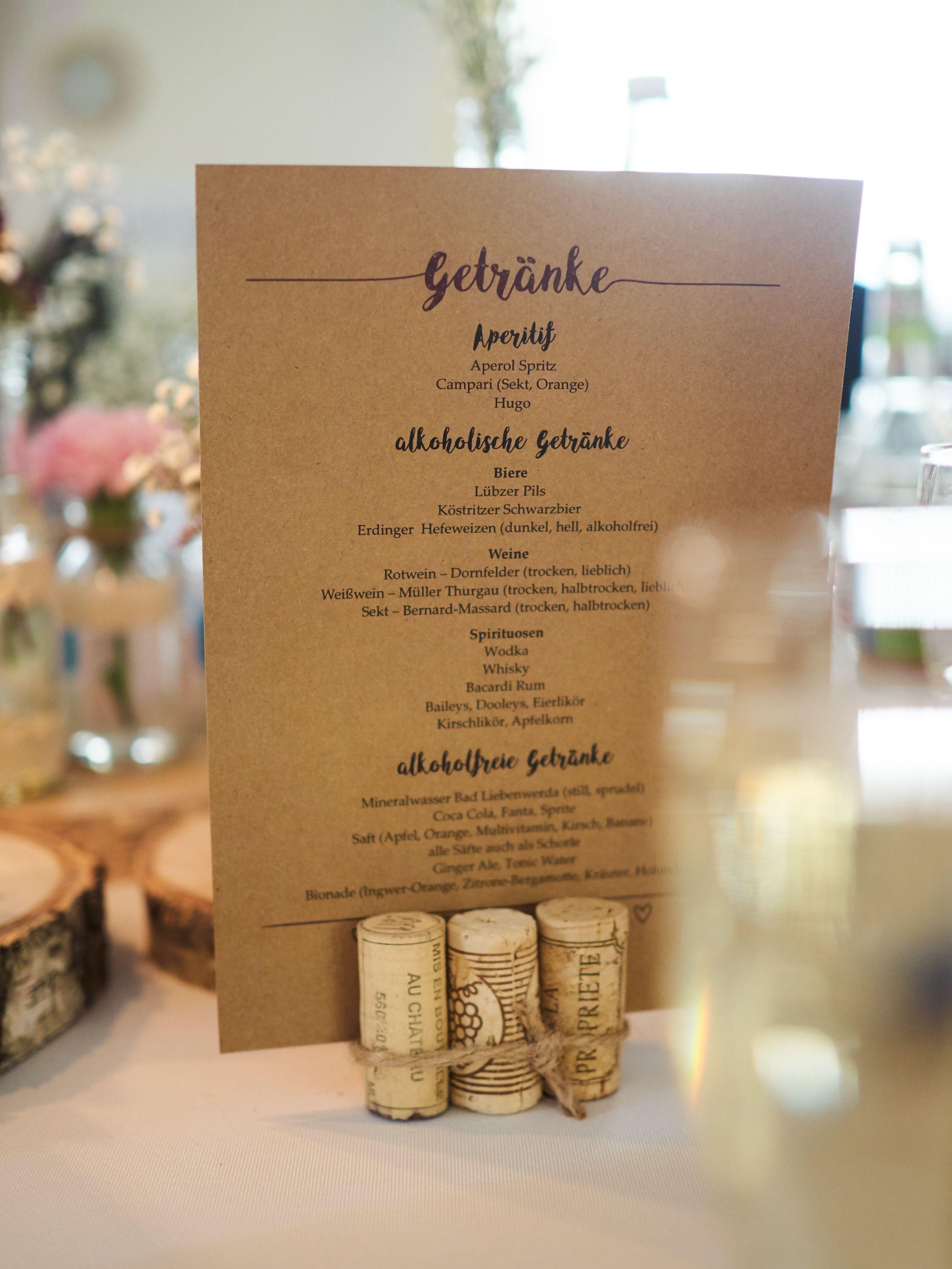 Getränkekarte Hochzeit Selber Machen  Getränkekarte Unsere Hochzeit