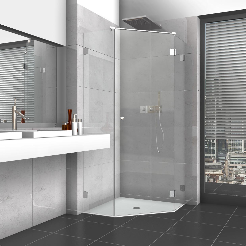 Glastür Dusche  5 Eck Dusche mit Glastür und zwei Seitenteilen