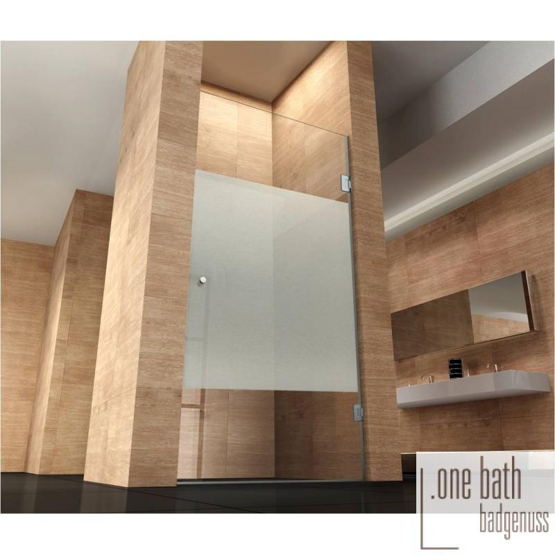 Glastür Dusche  Glastür Dusche Moni mit Milchglasstreifen