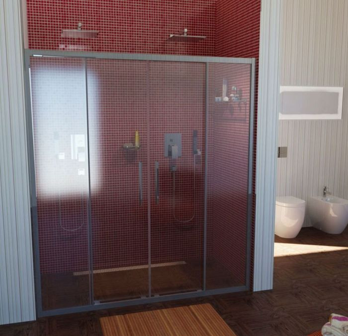 Glastür Dusche  Schiebetür Nische 150 cm Glastür 150x200 cm BxH