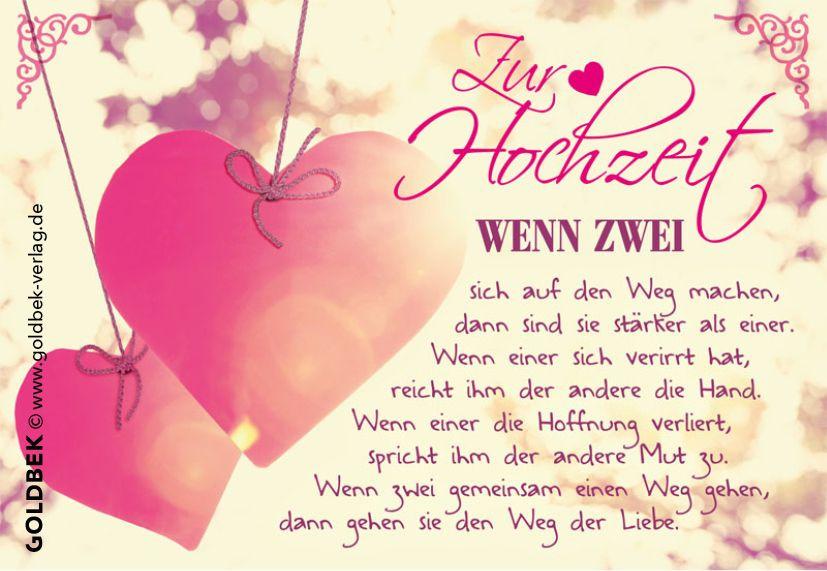 Glückwunsch Spruch Hochzeit  Postkarten Hochzeit Hochzeitskarte im romantischen