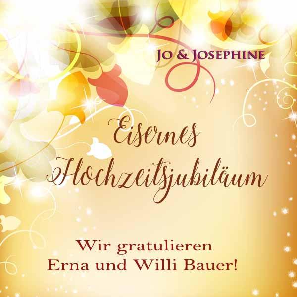 Glückwünsche Zur Eisernen Hochzeit  Ihre Glückwünsche zur Eisernen Hochzeit personalisierte