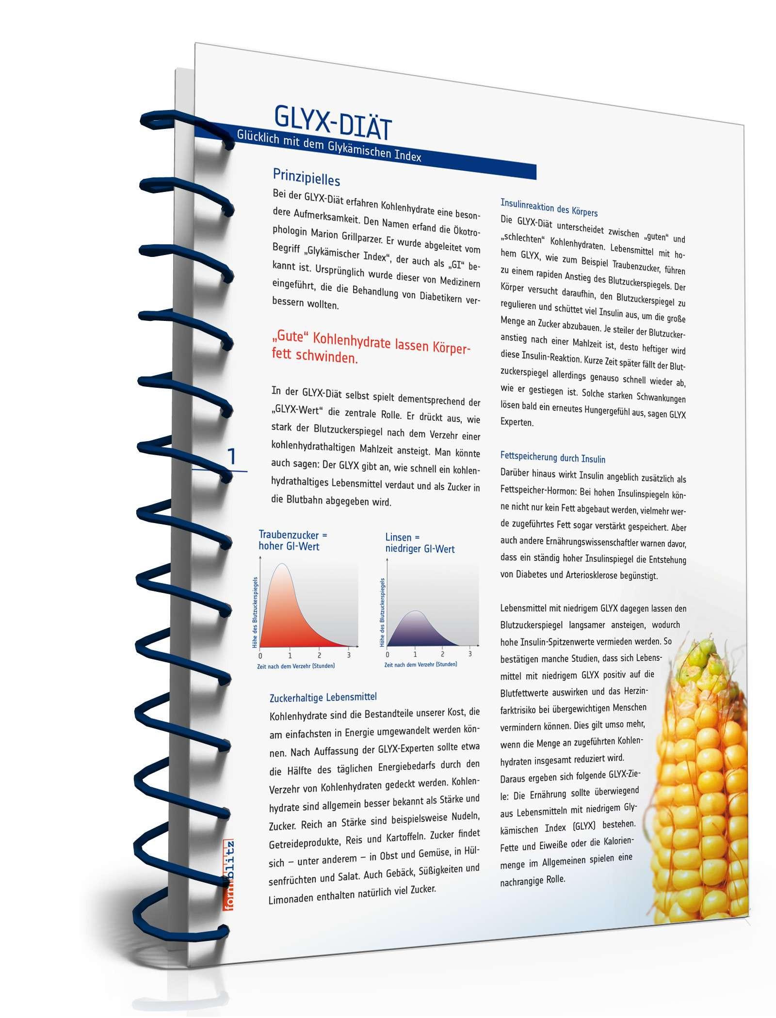 Glyx Tabelle  GLYX Diät Ratgeber mit Diätplan und Einkaufsliste zum