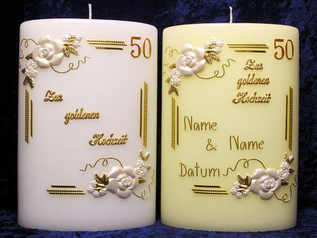 Goldenen Hochzeit  Kerze zur goldenen Hochzeit Oval Rosenecken