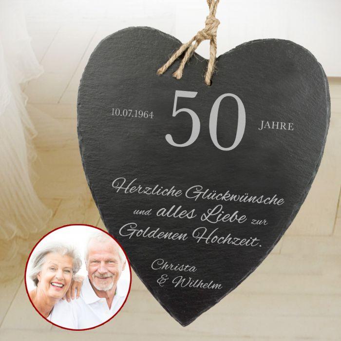 Goldenen Hochzeit  Schieferherz zur Goldenen Hochzeit mit Wunschnamen und Datum