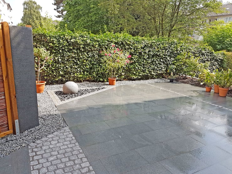 Granitplatten Terrasse  Terrasse mit Granitplatten Pflaster und