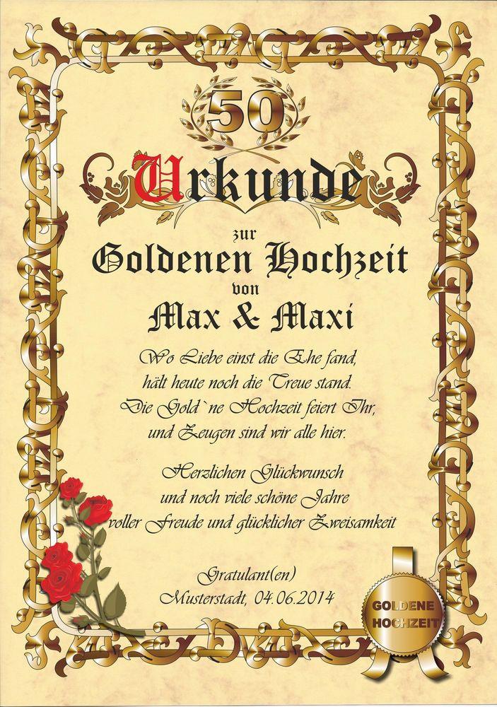 Gratulation Goldene Hochzeit  Urkunde Goldene Hochzeit Karte Jubiläum Gratulation C672