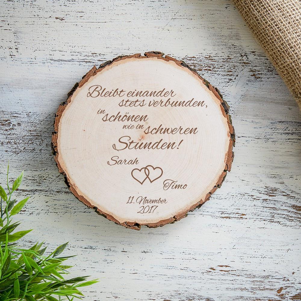 Gravur Hochzeit  Baumscheibe mit Gravur zur Hochzeit mit Spruch Bleibt