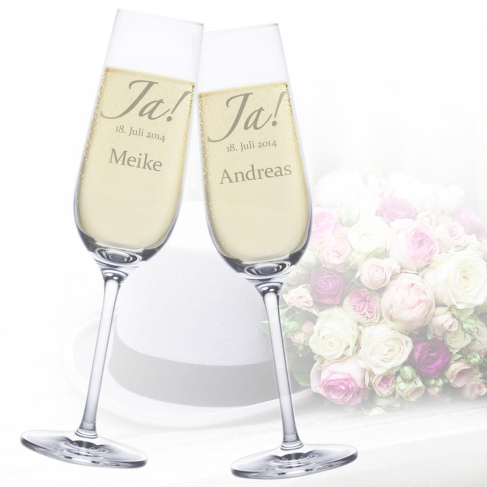 Gravur Hochzeit  Sektgläser zur Hochzeit – Jawort Gravur – Gläser zum