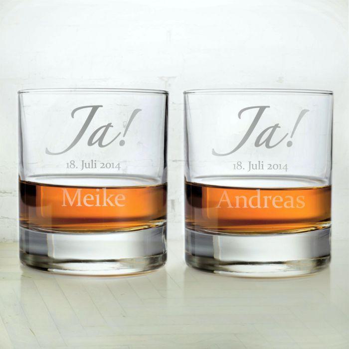 Gravur Hochzeit  Whiskygläser zur Hochzeit – Jawort Gravur – 2 Stück fürs