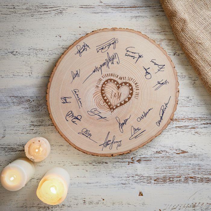 Gravur Hochzeit  XXL Baumscheibe mit Gravur originelles Gästebuch zur