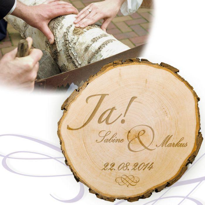 Gravur Hochzeit  Baumscheibe zur Hochzeit Jawort Gravur und Deine Wunschnamen