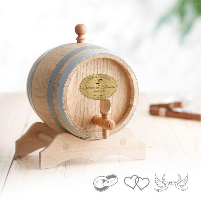 Gravur Hochzeit  Holzfass mit Gravur Plakette zur Hochzeit