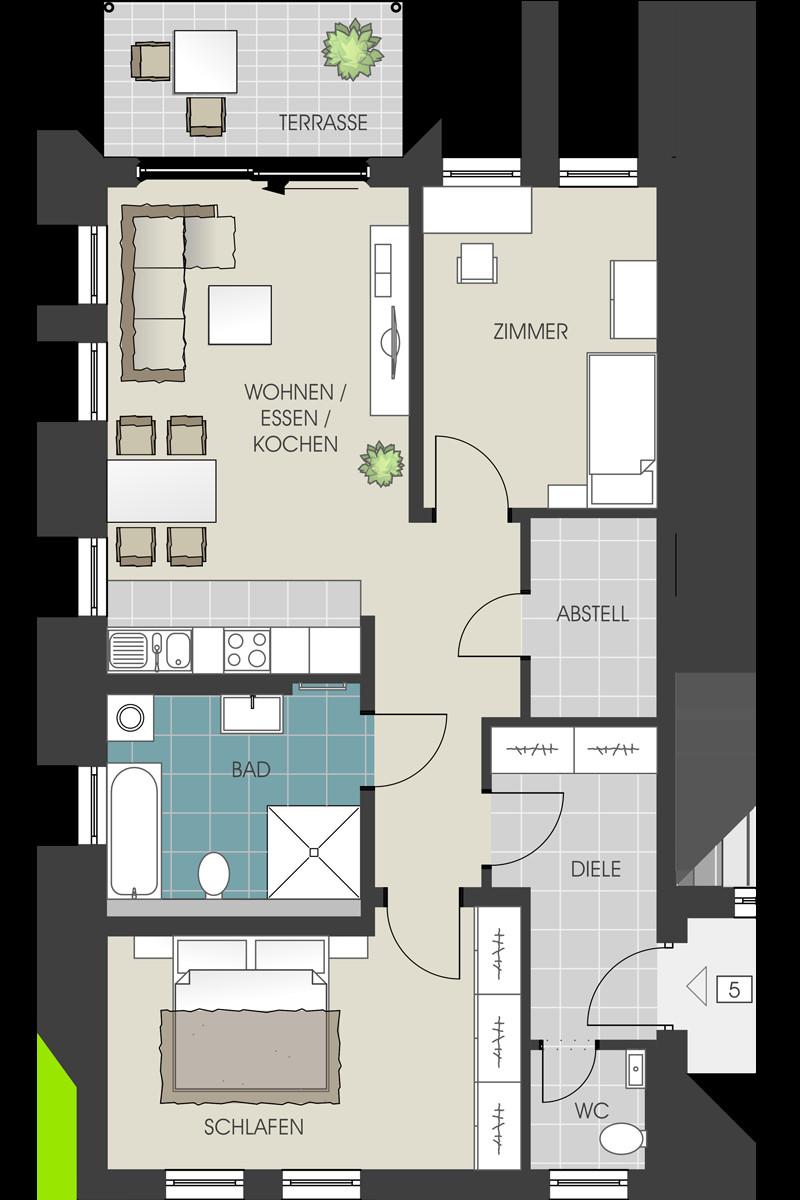 Grundriss Wohnung  Grundrisse und Kaufpreise der Wohnungen und Garagen