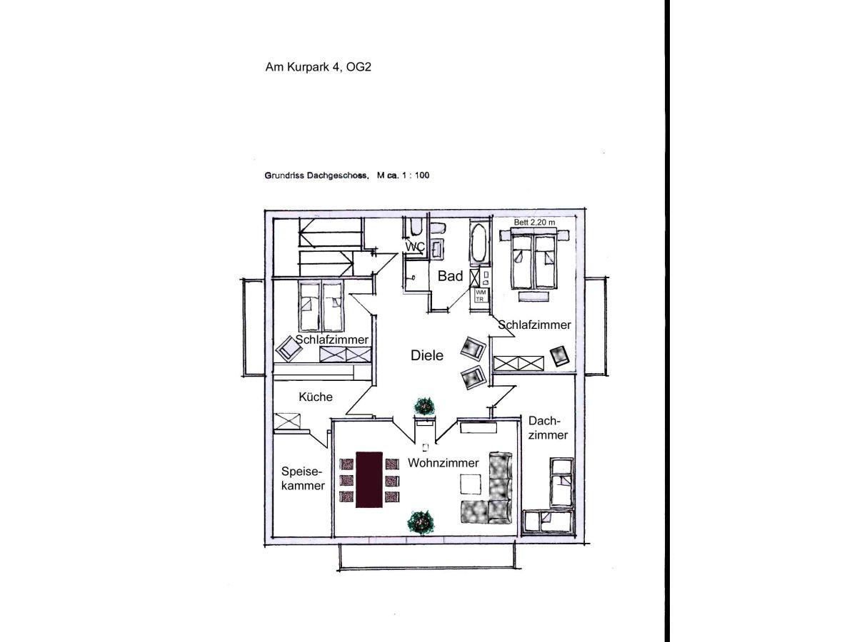 Grundriss Wohnung  Ferienwohnung Am Kurpark Wohnung 3 150 qm Garmisch