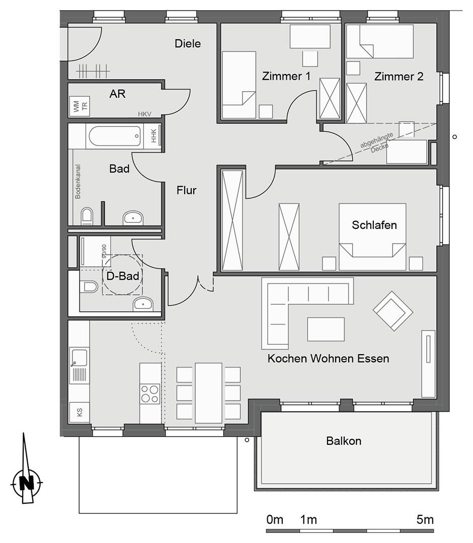 Grundriss Wohnung  WESTGREEN Neubau von 22 Eigentumswohnungen in Hamburg