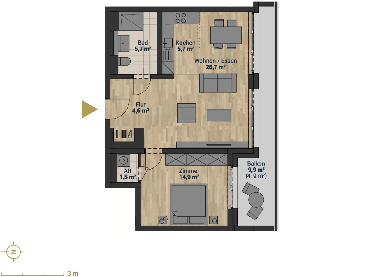 Grundriss Wohnung  ON BOARD HAMBURG Eigentumswohnungen im Baakenhafen Hamburg
