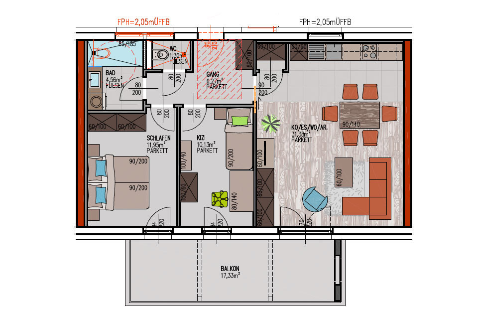 Grundriss Wohnung  IMMOTERIA – Wohnprojekt FeldkirchenIMMOTERIA Wohnprojekt