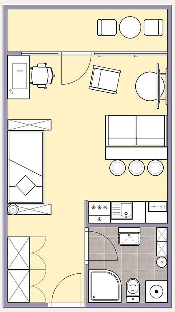 Grundriss Wohnung  Kleine Wohnung einrichten So kommt Einzimmerwohnung