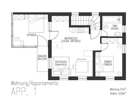 Grundriss Wohnung  Wohnung APP 1 Grundriss Bild von Ferienwohnungen Auhaus
