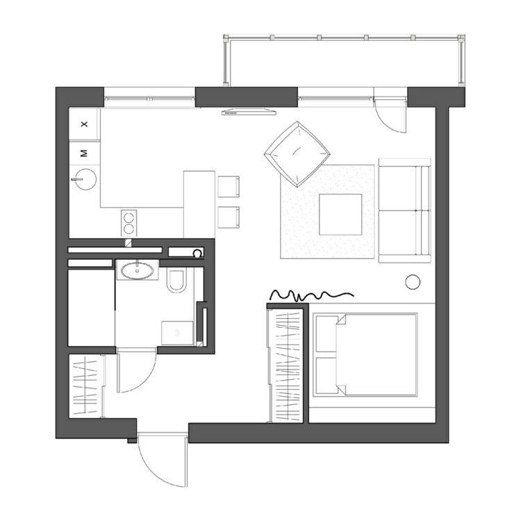 Grundriss Wohnung  Grundriss der 1 Zimmer Wohnung … Brentano