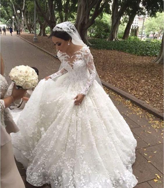 Günstig Hochzeit Feiern  Modern Weiße Brautkleider Mit Ärmel Prinzessin Spitze