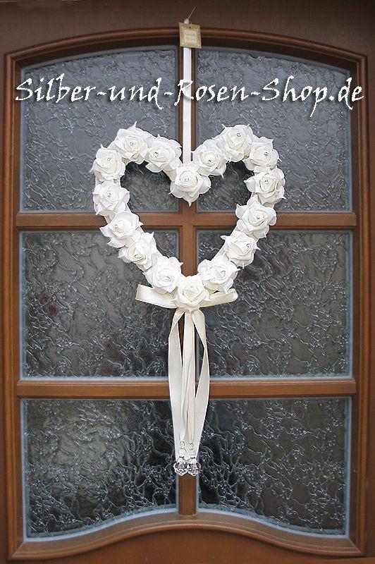 Günstig Hochzeit Feiern  Rosen Herz Hochzeit Türschmuck Blumenkränze