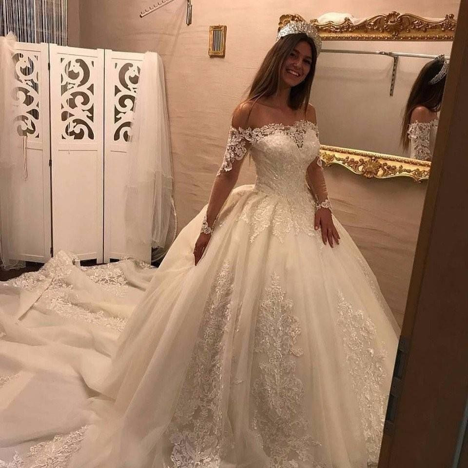 Günstig Hochzeit Feiern  Luxury Brautkleider Spitze Mit Lange Ärmel Prinzessin