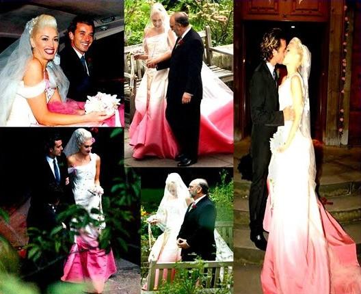 Gwen Stefani Hochzeitskleid  Vestidos de noiva rosa pink e salmão Noiva Classe