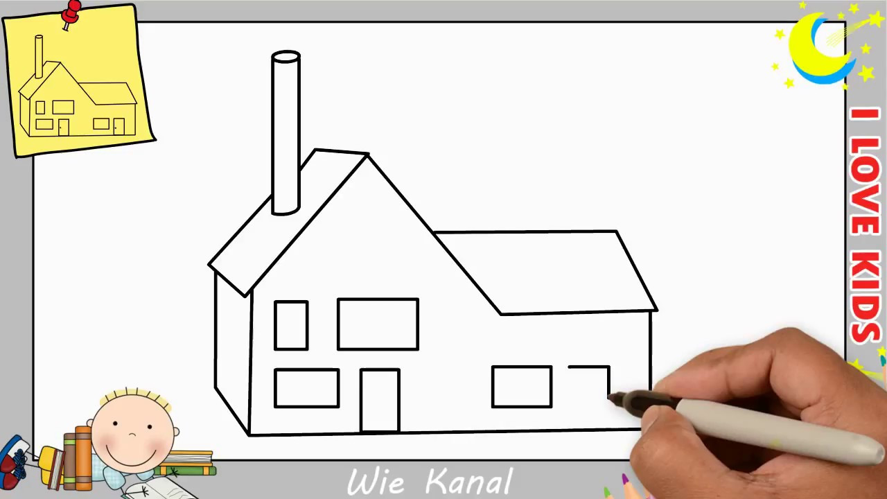 Haus Zeichnen  Haus zeichnen schritt für schritt für anfänger & kinder