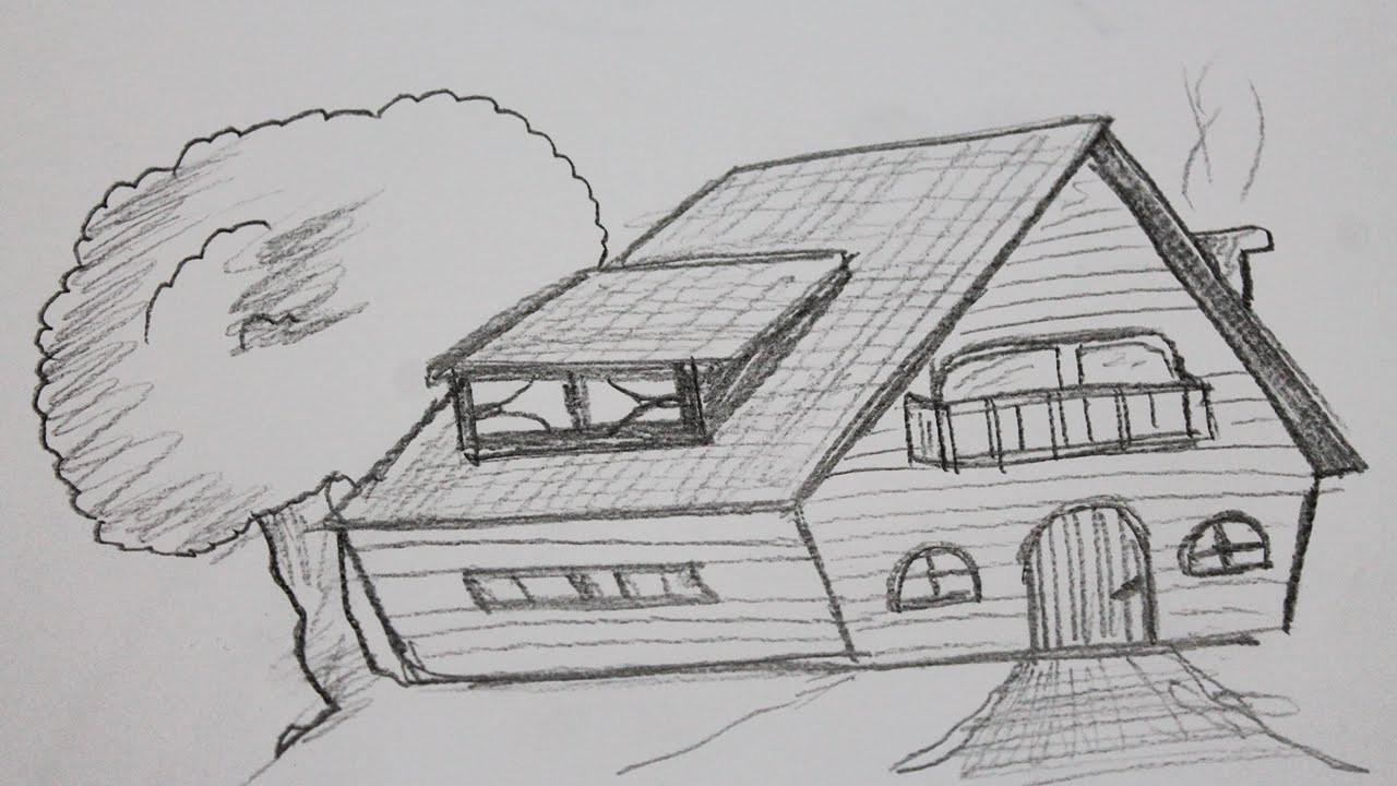 Haus Zeichnen  Wie zeichnet man ein haus