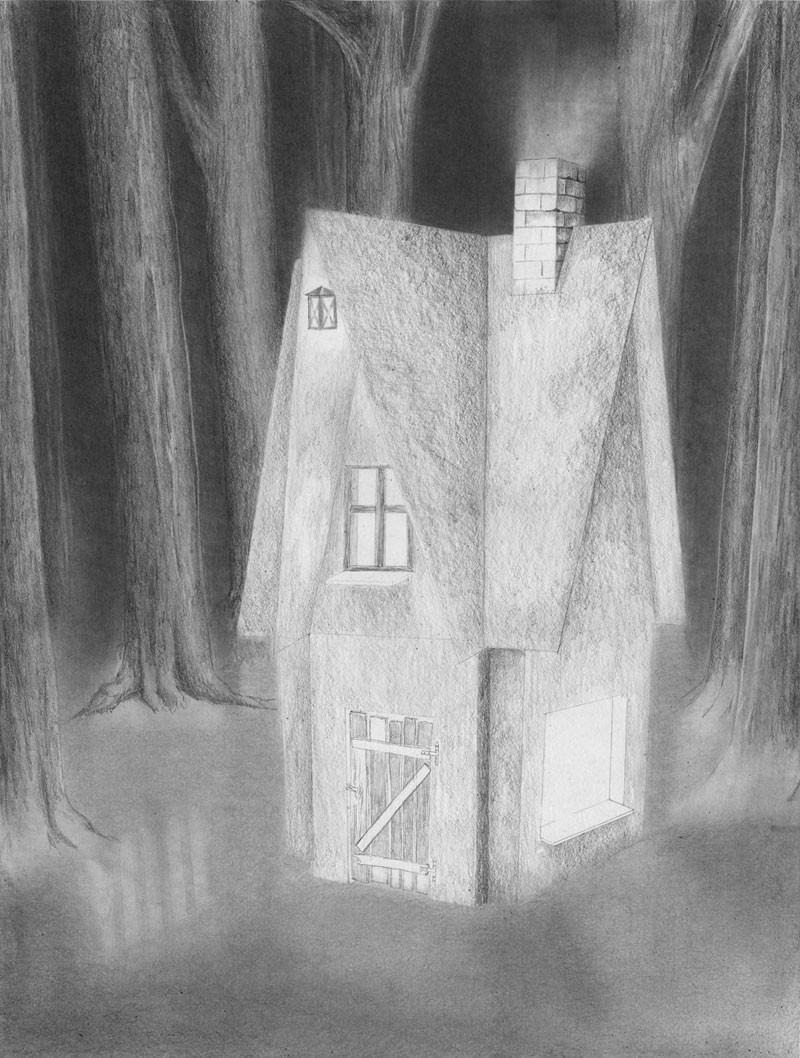 Haus Zeichnen  Haus im dunklen Wald zeichnen lernen Zeichenkurs