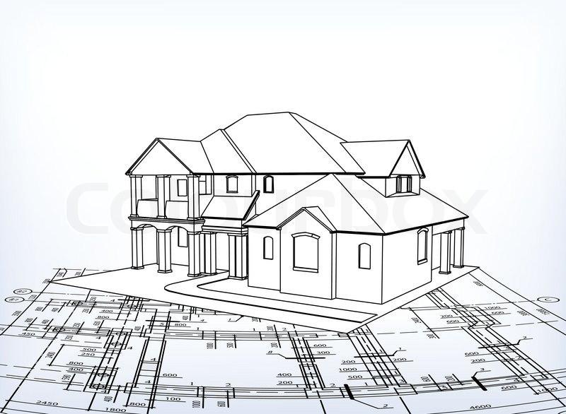 Haus Zeichnen  Haus Vektor technische zeichnen Vektorgrafik