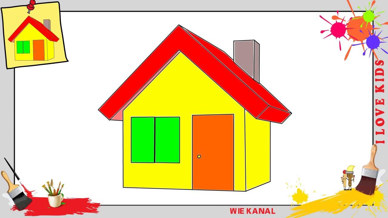Haus Zeichnen  Haus zeichnen 3 schritt für schritt für anfänger & kinder